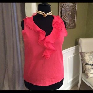 Ruffled Coral Top by Adrienne Vittadina Studio